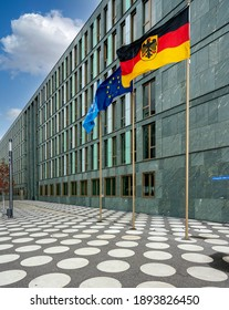 berlin, 2020, october, 24th, flags in front of the federal ministry for research on kapelle ufer in the capital