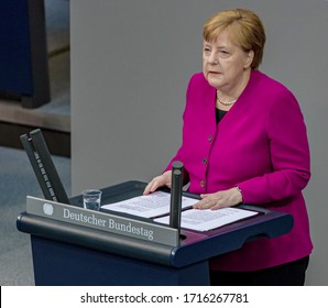 Berlin, 2020-04-23: The German Chancellor Angela Merkel speaks about the corona crisis at the German Bundestag in Berlin