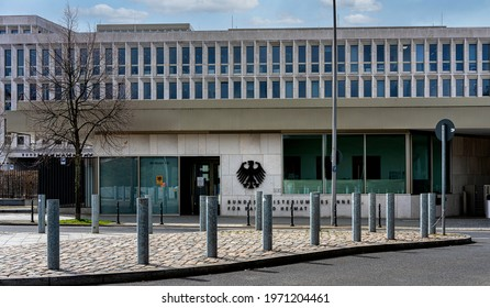 berlin, 2021, april, 12, the main entrance to the federal interior ministry near berlin main station