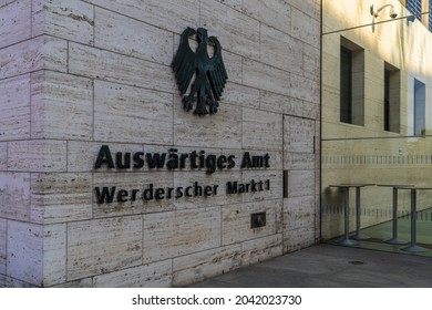 Berlin 2021: The Federal Foreign Office (Auswärtiges Amt) at Werderscher Markt in Mitte district. Lettering and federal eagle at the entrance.
