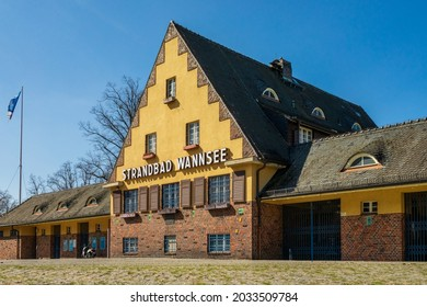 Berlin 2021: Forecourt and entrance of the famous Strandbad Wannsee, The lido on the eastern shore of the Großer Wannsee is one of the largest inland baths in Europe.
