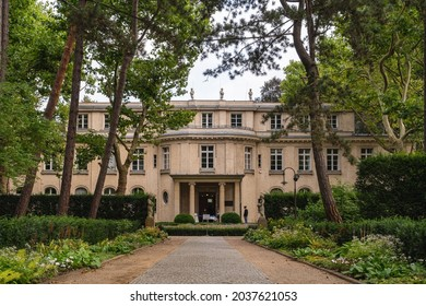 Berlin 2021: House of the Wannsee Conference (Haus der Wannseekonferenz). Entrance of the Villa, where the Wannsee Conference was held in 1942. Now it's a Holocaust memorial and museum.