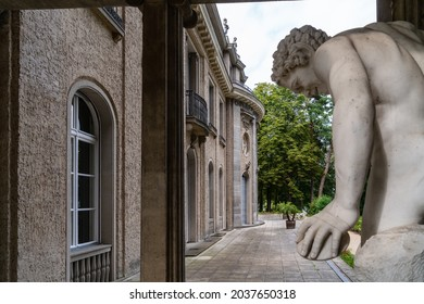 Berlin 2021: House of the Wannsee Conference (Haus der Wannseekonferenz). Side view with sculpture of the Villa, where the Wannsee Conference was held in 1942. Now it's a Holocaust memorial and museum