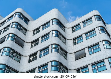 Berlin 2021: The striking wave façade of the restored Shell-Haus, detail view from bottom to top. Since 2012, it has been part of the second official headquarters of the Federal Ministry of Defense.