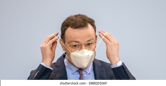 Berlin, 2021-01-06: Press conference with the German Minister for Health, Jens Spahn at his office in Berlin