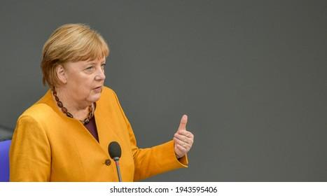 Berlin, 2021-03-24: Angela Merkel pictured at a meeting in Berlin