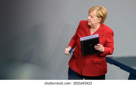 Berlin, 2021-08-25: Angela Merkel pictured at a meeting in Berlin