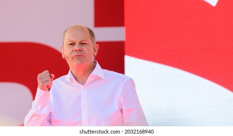 Berlin, 2021-08-27:  Olaf Scholz pictured at a meeting in Berlin