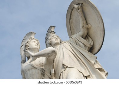 BERLIN, 24 MARCH: Athena protects the young hero (Der junge Held wird von Athena beschuetzt) by Gustav Blaeser 1854 at the Schlossbruecke on 24 March 2015 in Berlin, Germany.