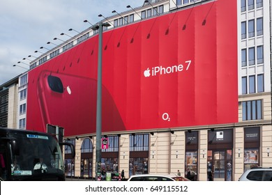 BERLIN, 24TH APRIL:IPhone 7 and O2 huge bill board advertising panel mounted in a building under construction in Potsdamer Platz in in Berlin on April 24th 2017