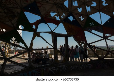 """BERLIN, 27TH MAY: Former NSA US listening station on the top of the hill """"Teufelsberg"""" in Berlin on May 27th, 2017."""