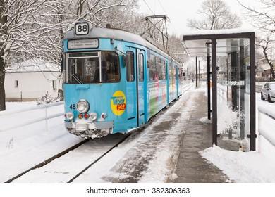 BERLIN, 29 DECEMBER: Antique Tram in service in Friedrichshagen, Berlin on 29 Dezember 2014.