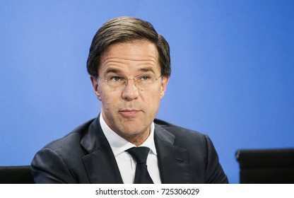 BERLIN, 6-29-2017 Mark Rutte, Prime Minister of the Netherlands at a press conference in the German Chancellery