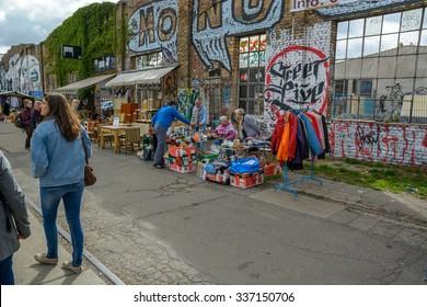 Berlin, 9 September 2015: Flee market in Friedrichshain Kreuzberg