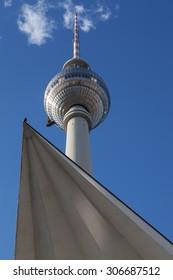 Berlin Alexanderplatz TV tower against a blue sky