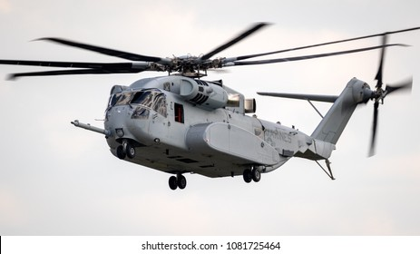 BERLIN - APR 27, 2018: New US Marines Sikorsky CH-53K King Stallion heavy transport helicopter taking off at the Berlin ILA Air Show.