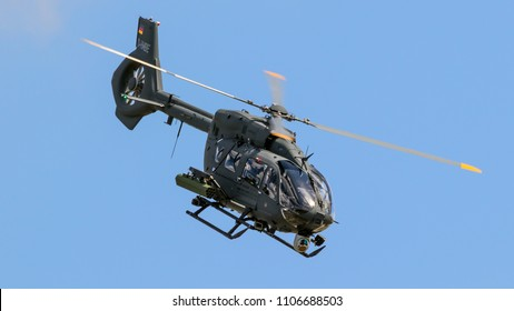 BERLIN - APR 27, 2018: New Airbus H145M military helicopter in flight at the Berlin ILA Air Show.
