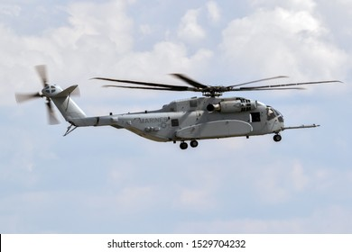 BERLIN - APR 27, 2018: New Sikorsky CH-53K King Stallion heavy-lift helicopter of the US Marines in action at the Berlin ILA Air Show