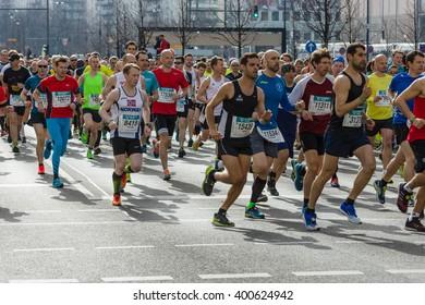 BERLIN - APRIL 03, 2016: The annual Berlin Half Marathon. Race through the city streets.