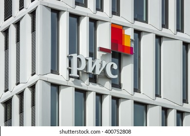 BERLIN - APRIL 03, 2016: The logo of PricewaterhouseCoopers. PwC is the international network of companies offering professional services in the field of consulting and auditing.