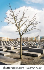 BERLIN - APRIL 2: The Memorial to the Murdered Jews of Europe. Memorial to the Jewish victims of the Holocaust, built of concrete slabs, on April 2, 2015 In Berlin Germany