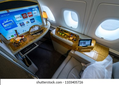 BERLIN - APRIL 26, 2018: Interior and seat of the first class passengers of the world's largest aircraft Airbus A380. Emirates Airline. Exhibition ILA Berlin Air Show 2016