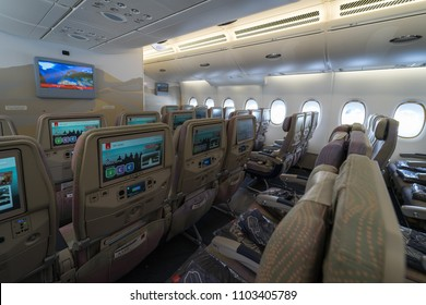 BERLIN - APRIL 26, 2018: Interior of an economy class of the world's largest aircraft Airbus A380. Emirates Airline. Exhibition ILA Berlin Air Show 2018