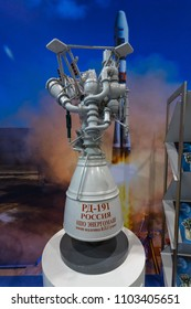 BERLIN - APRIL 26, 2018: Space Pavilion. Stand of Roscosmos State Corporation for Space Activities. Rocket engine RD-191 scale model. Exhibition ILA Berlin Air Show 2018