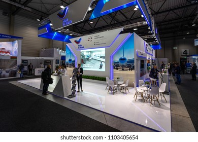BERLIN - APRIL 26, 2018: Space Pavilion. Stand of Russian Export Center. Exhibition ILA Berlin Air Show 2018
