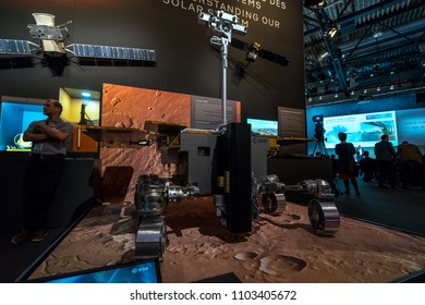 BERLIN - APRIL 26, 2018: Space Pavilion. ExoMars is Mars rover by the European Space Agency and Roscosmos State Corporation. Exhibition ILA Berlin Air Show 2018