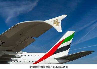 BERLIN - APRIL 27, 2018: Detail of passenger jet Airbus A380 in the original colors of Emirates Airlines. Exhibition ILA Berlin Air Show 2018