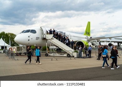 BERLIN - APRIL 27, 2018: The narrow-body jet airliner Bombardier CS300, by AirBaltic. Exhibition ILA Berlin Air Show 2018.