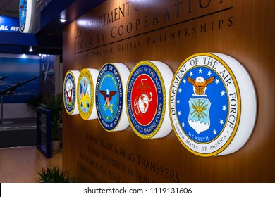 "BERLIN - APRIL 27, 2018: Pavilion ""Defense and Security"", stand of U.S. Department of Defense Security Cooperation. Exhibition ILA Berlin Air Show 2018."