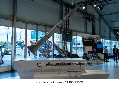 "BERLIN - APRIL 27, 2018: Pavilion ""Defense and Security"". Meteor (missile) is an active radar guided beyond-visual-range air-to-air missile being developed by MBDA. Exhibition ILA Berlin Air Show 2018"
