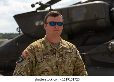 BERLIN - APRIL 27, 2018: Portrait of a military pilot of the US Air Force. Exhibition ILA Berlin Air Show 2018.