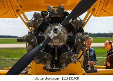 BERLIN - APRIL 27, 2018: Radial engine of the biplane trainer Boeing-Stearman Model 75 Kaydet. Exhibition ILA Berlin Air Show 2018.