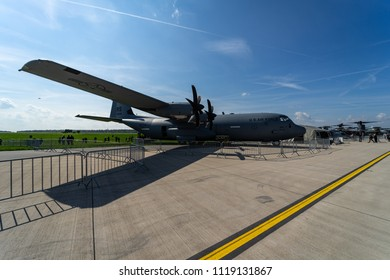 BERLIN - APRIL 27, 2018: Turboprop military transport aircraft Lockheed Martin C-130J Super Hercules. US Air Force. Exhibition ILA Berlin Air Show 2018.