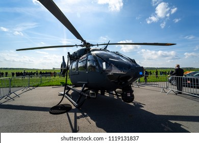 BERLIN - APRIL 27, 2018: Utility helicopter Airbus Helicopters H145M. German Army. Exhibition ILA Berlin Air Show 2018.