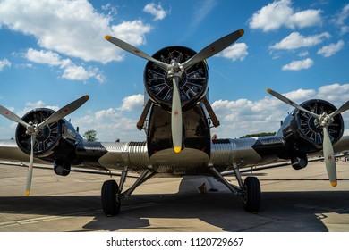BERLIN - APRIL 28, 2018: Transport aircraft Junkers Ju 52/3m. Lufthansa. Exhibition ILA Berlin Air Show 2018.