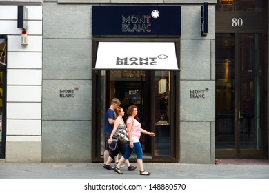 BERLIN - AUGUST 03: Montblanc boutique on Friedrichstrasse. Montblanc is a German luxury manufacturer of writing instruments, watches, jewellery and leather goods, August 03, 2013, Berlin, Germany