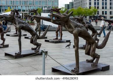 BERLIN - AUGUST 09, 2016: Installation in front of the main railway station (Hauptbahnhof) on Washingtonplatz (Washington square) - The wolfes are back?