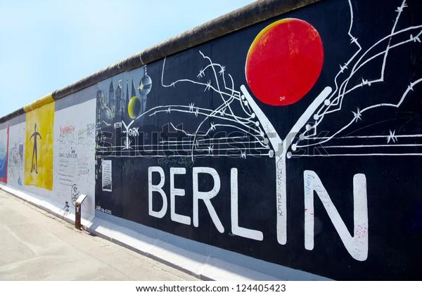 BERLIN - AUGUST 1: East Side Gallery Berlin graffiti on August 1, 2012 in Berlin. It is a 1,3 km long part of original Berlin wall, famous memorial.