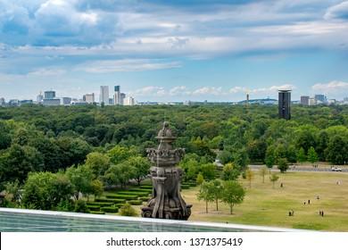 Berlin - August 11 2018: The Tiergarten park with Breitscheidplatz area in the background  as seen from Reichstag building
