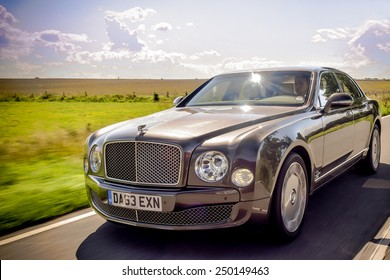 BERLIN - AUGUST 2014: Bentley Mulsanne drives along the road during the test drive event for automotive journalists from Eastern Europe.