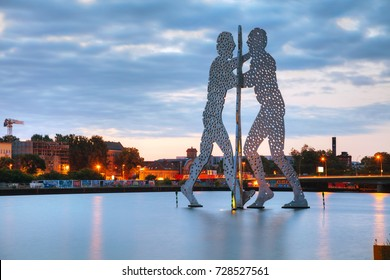 BERLIN - AUGUST 22, 2017: Molecul Man sculpture on August 22, 2017 in Berlin, Germany. It's one in a series of aluminium sculptures, designed by American artist Jonathan Borofsky.