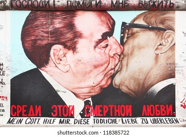 "BERLIN - AUGUST 22: ""The Kiss"" by Dmitry Vrubel on Berlin Wall at East Side Gallery August 22, 2012 in Berlin"
