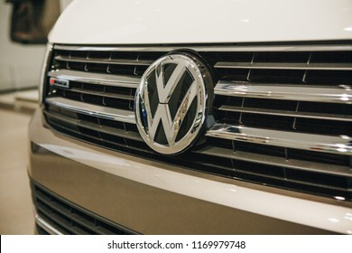 Berlin, August 29, 2018: Close-up sign VW on new Volkswagen multivan presented at the official Auto Show Drive - Volkswagen Group Forum in Berlin.