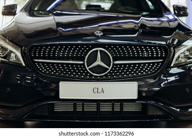 Berlin, August 29, 2018: A close-up of the new black Mercedes-Benz CLA.