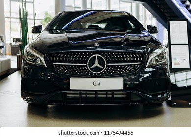 Berlin, August 29, 2018: A close-up of the new black Mercedes-Benz CLA. Exhibition and sale of new cars in the official dealer center Mercedes-Benz in Berlin.