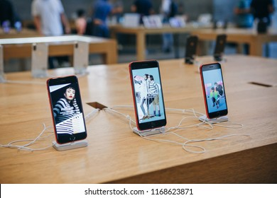 Berlin, August 29, 2018: The iPhone 8 and the iPhone SE are exhibited and sold in the official Apple store in Berlin.